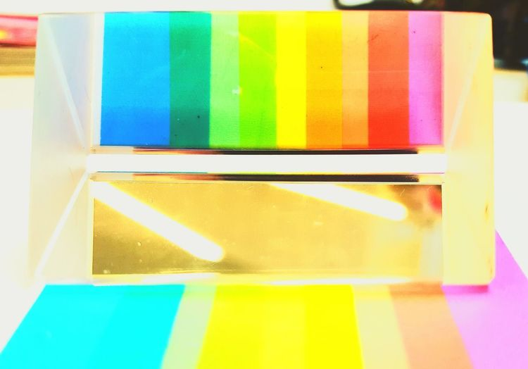 Multi Colored Variation Vibrant Color Indoors  Pastel Colored Close-up Triangular Prism Triangular Light And Shadow Light Simplicity Art Is Everywhere Multicolors  Rainbow Refraction Relflection Glass Prism Glass Prism Triangle Shape Revision Sticky Notes Sciences Triangle The Graphic City This Is Queer Visual Creativity
