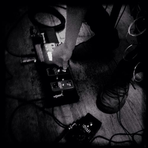 Yuichiro's sound Guitar Gear Pedalboard Hipstamatic Hipstamaticaddicts IPhoneography Black And White Pedals