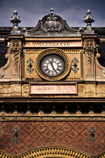 Architecture Budapest Building Exterior Built Structure City Clock Clock Face Close-up Day Dome Façade History Low Angle View No People Nyugati Railway Station Ornate Outdoors Railway Station Roman Numeral Sky Time Train Station Travel Destinations