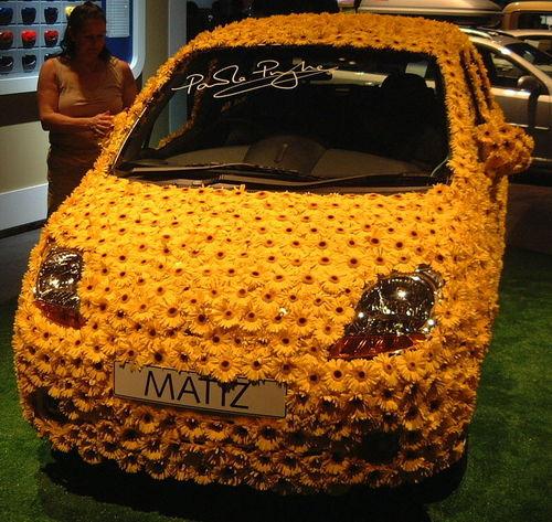Flower Power! Abstract Abundance Car Close-up Communication Design Detail Flowers Full Frame GB Indoors  London Matiz Motor Car Motor Show Pattern Textured  Uk Yellow Colour