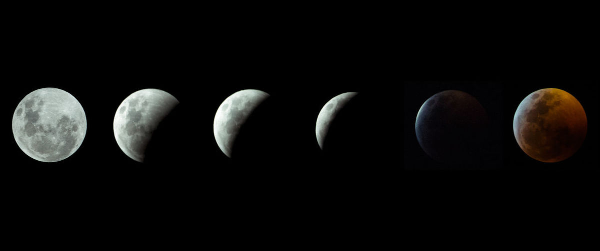 Astronomy Moon Space Sky Eclipse Black Background Panoramic No People Night Orange Color Natural Phenomenon Studio Shot Nature Outdoors In A Row Copy Space Half Moon Side By Side Space Exploration Close-up Orbiting