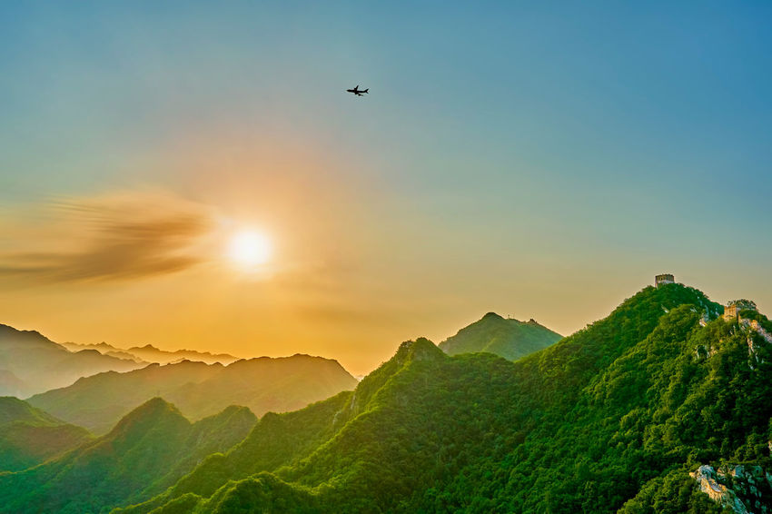 China Great Wall Summer sunrise Aircraft Aircraft Wing Architecture Beijing Beijing China Beijing Scenes Beijing Trip Beijing, China China China Beauty China Photos China View East Asia Flight Great Wall Great Wall Of China Landmark Landscape Mountain No People Oriental Sunlight Sunrise Travel Valley