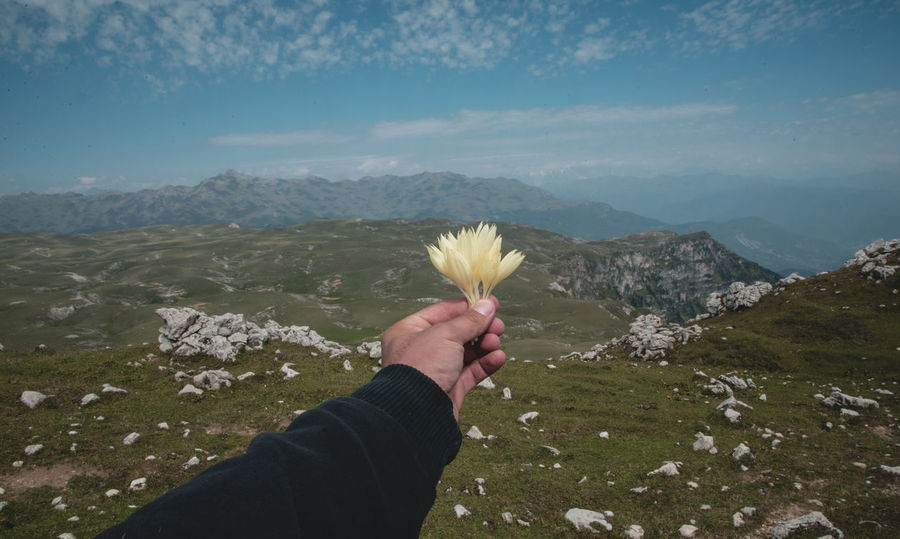 Human Hand Hand Mountain Human Body Part Beauty In Nature Plant Nature Personal Perspective Real People One Person Leisure Activity Day Flower Lifestyles Sky Landscape Flowering Plant Environment Scenics - Nature Holding Finger Outdoors Mountain Range Body Part