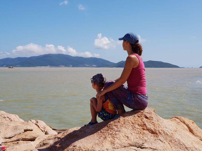 Sitting Child Full Length Sea Childhood Beach Side View Girls Sky Landscape