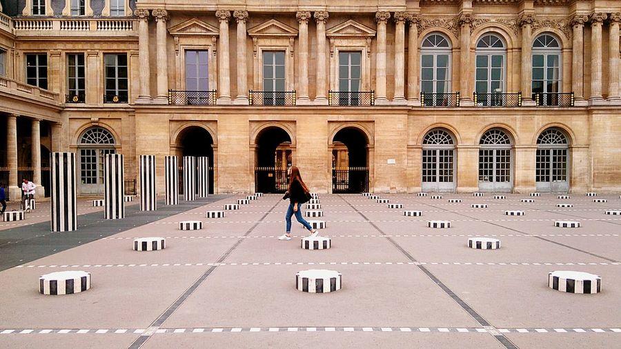 Paris France Place Du Palais Royal Paris Photographer Girl Daniel Buren Modern Architecture Modern Art Architecture Palais Royal Royal Palace Royal Palace Paris Traveling No Destination Eyeemphoto
