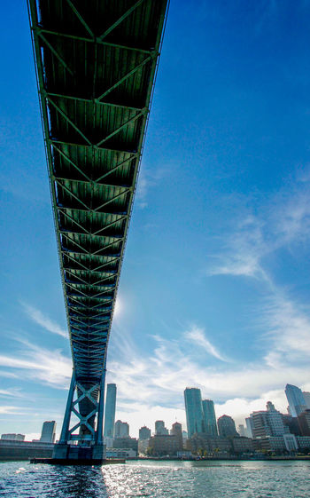 Low angle view of bay bridge over sea against sky in city