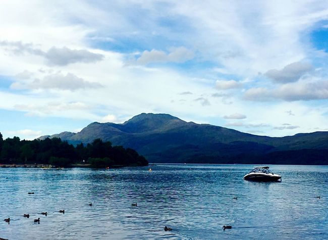 Outdoors Water Boat Mode Of Transport Rural Scene Landscape Horizon Over Land Lake Duck Waterbirds Calm Non-urban Scene Remote Beauty In Nature Blue Nature Tranquil Scene LochLomond Tranquility