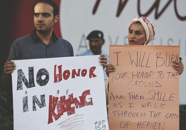 Killing for honor, that's the most disgusting thing I have ever seen in my life. When you give yourself the right to kill someone for being abused or making a mistake before looking at your own mistakes, that makes you lose any type of honor you may or may not have. Pakistan Justice Killing Dishonor Rights Women Men Crime People