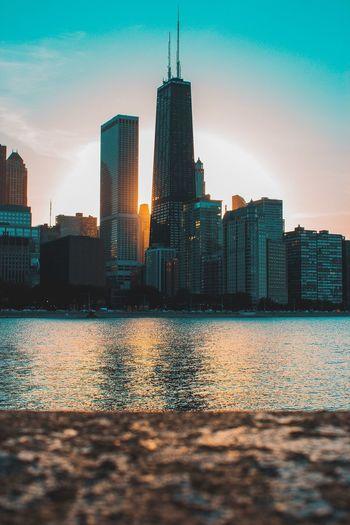 The tones 🌆 Skyscraper Sky City Travel Destinations Building Exterior Waterfront Sunset