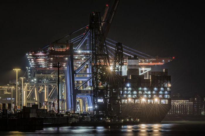 YM_WISH Container Container Terminal Container Terminal Tollerort Containership Cranes Elbe Engineering Hamburg Harbour Illuminated Industry Modern Night Night Photography No People Outdoors River Sky Water Reflections Waterdrops
