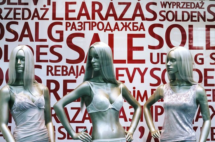 Text Red Shopping Mall Shopping Sale Discount Mannequins Women Lingerie Black Friday Display Shop