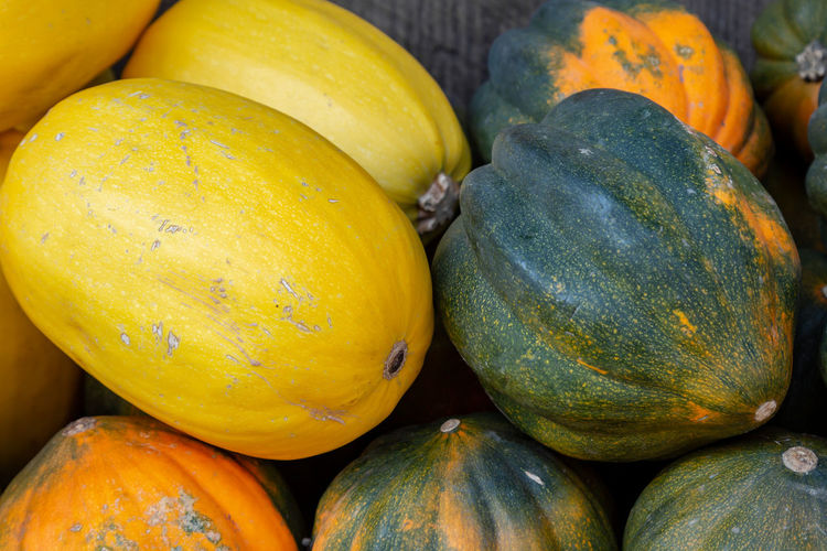 Colorful melons on a market stall Backgrounds Close-up Day Food Food And Drink For Sale Freshness Fruit Full Frame Healthy Eating Market Market Stall Melon No People Orange Color Organic Outdoors Retail  Ripe Still Life Wellbeing Yellow