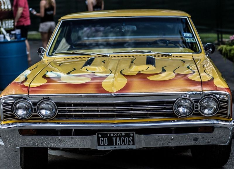 Old Car PaintJob Yellow Houston Flames