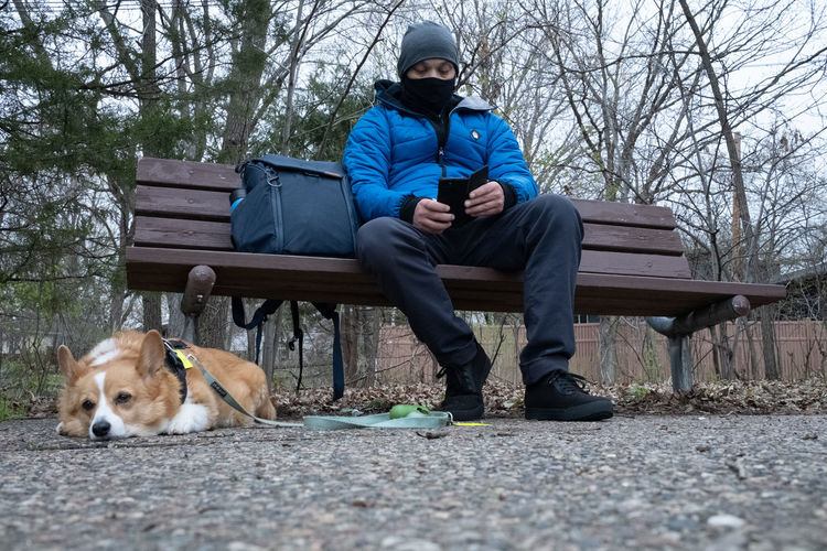 Man and dog sitting on bench against trees