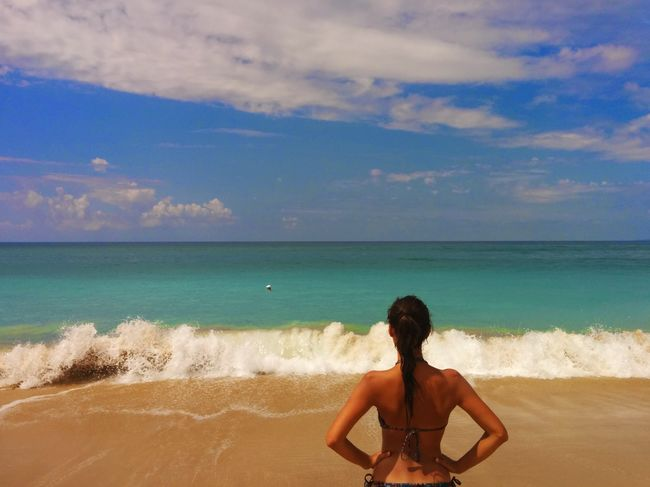 Beach Sand Sea Tropical Climate Vacations Sky Rear View Horizon Over Water Island Adult Cloud - Sky Only Women Summer One Person Travel Destinations One Woman Only Adults Only People Bikini Human Body Part Loutsa Beach Greece Vrachos Ionian Sea Epirus