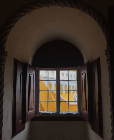 Pena Palace, Sinatra, Portugal Architecture Stylish Beauty Palace Sintra, Portugal Architecture Window Built Structure Arch Indoors  Building No People Old Window Frame