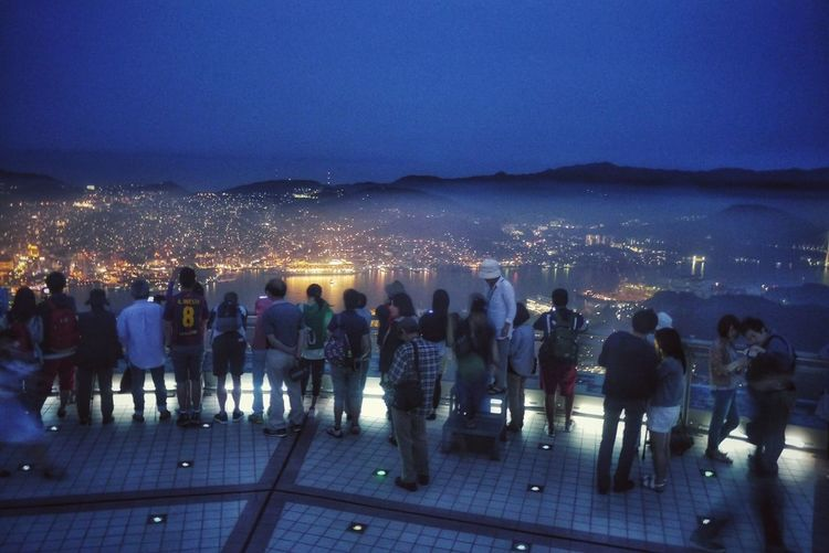Life Is Technicolor Out Of Focus おまけの 夕霧プラス夜景 Stock Photo 稲佐山展望台 Real People Illuminated Cityscape Adapted To The City Mt.Inasayama, Nagasaki Observatory Harbour サファイアプリンセス Cruise Ship Sapphire Princess