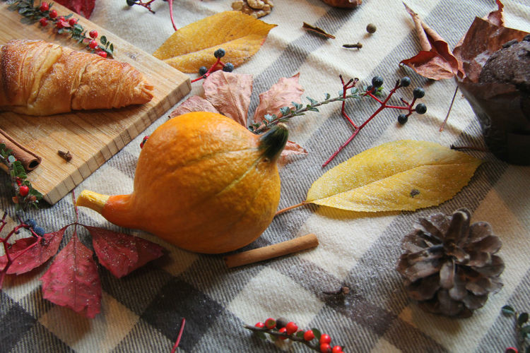 Table Still Life Indoors  Food No People Close-up Architecture Harvest Harvesting Croissant Muffin Chocolate Leaves Leaf Cinnamon Coffee Pumpkin Thanksgiving Season  Holidays Decoration Cutting Board Concept Blanket Warmth Feeling Water Picnic Picnik Family Time Colorful Colors