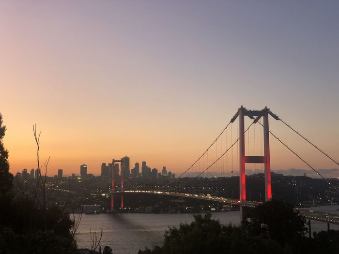 View of suspension bridge at sunset