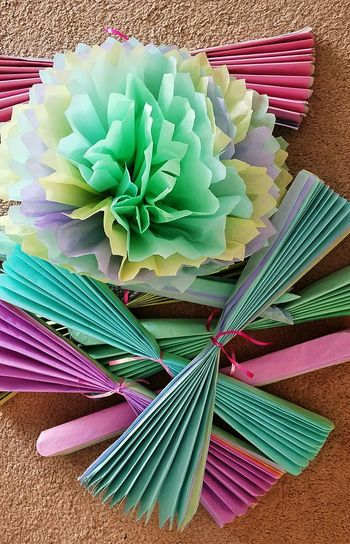 Poms 3 Backgrounds Background Paper Poms Pom Tissue Paper Flowers Papercraft Crafts Fold Accordion Stepbystep Instructions Color Purple Green Lavender Yellow Crafty Kids Art Kidscrafts Textures And Surfaces No People Tied