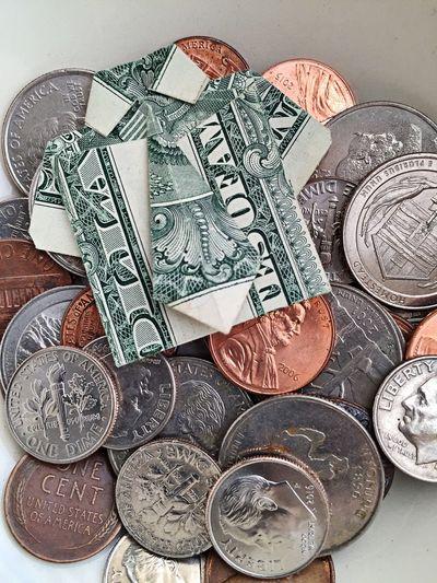 Another day another dollar Money Money Money Money Coins Dollar Dollar Bill Oragami Business Shirt Business Earning Money Earn Money  Loose Change