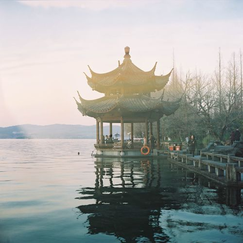 China, The West Lake Pavilion Lake View Water Sky Day Scenics