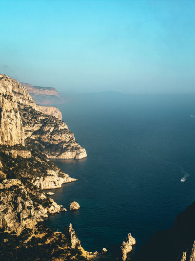 Marseille Calanques  Yellow Rock - Object Cliff High Angle View Above The Sea Water Sea Beach Sky Horizon Over Water Landscape View Into Land Seascape Sailboat Yacht Cliff Coast Rock Formation Marina Archipelago Rocky Coastline