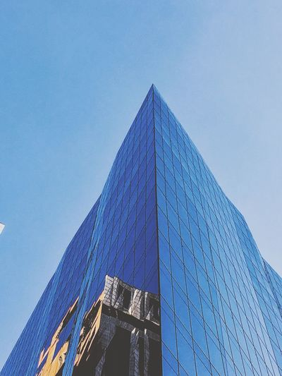 Glasses Building Built Structure Architecture Building Exterior Low Angle View Modern Sky The Architect - 2019 EyeEm Awards Office Building Exterior Building Clear Sky City No People Skyscraper Blue Office Reflection Tower Tall - High Glass - Material Nature Day