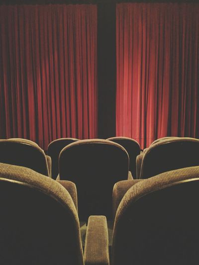 Film Industry Auditorium Seat Curtain Stage - Performance Space Arts Culture And Entertainment Chair Empty In A Row