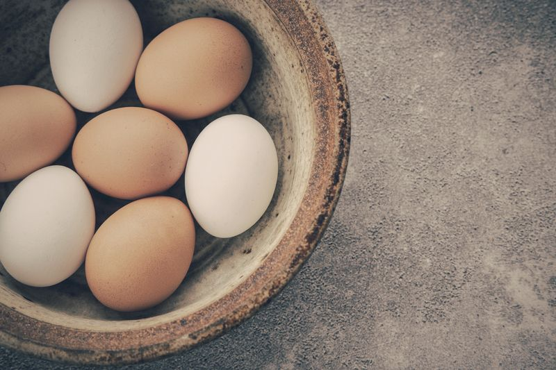 Eggs in a bowl Eggs Eggshell Egg Food Food And Drink Wellbeing Freshness Healthy Eating Brown Indoors  High Angle View Directly Above Still Life No People Animal Egg Vulnerability  Fragility Group Of Objects Large Group Of Objects