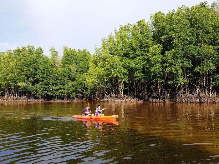 Cayaking Twin Tree Water Togetherness Men Lake Sitting Sky Kayak