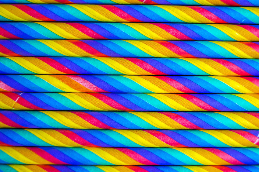 Abundance Backgrounds Blue Choice Close-up Day Design Full Frame In A Row Large Group Of Objects Metal Multi Colored Nature No People Ornate Outdoors Paper Straw Pattern Striped Sunlight Variation Vibrant Color