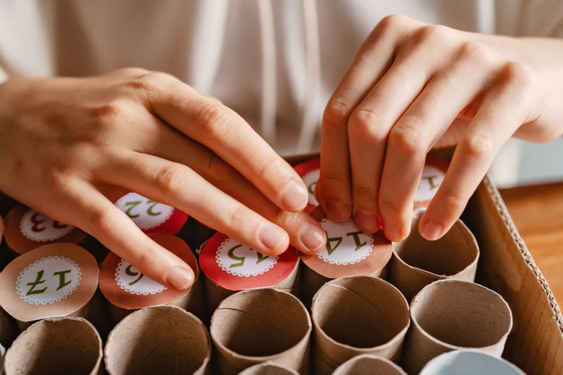 Close-up of woman hands on table
