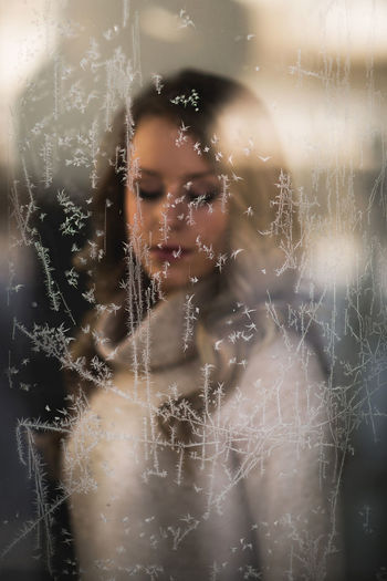 Reflection Winter Woman Close-up Cold Temperature Crystal Day Forest Full Frame Indoors  Nature Photographer Window