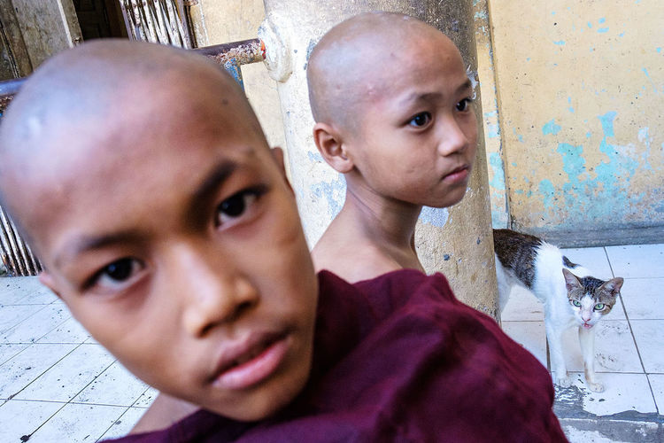 Young novice monks in in a Buddhist monastery in Mawlamyine, Myanmar. People Street Photography Travel Photography Monastery FUJIFILM X-T2 Myanmar Fujifilm_xseries Portrait Novice Mawlamyaing Mawlamyine Fujifilm The Portraitist - 2017 EyeEm Awards