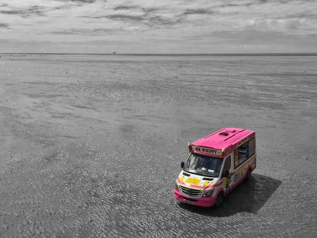 Transportation Mode Of Transport No People Land Vehicle Day Outdoors Sky IPhoneography JoMo Photo Liverpool Southport Black And White Blackandwhite Color Splash Ice Cream Beach