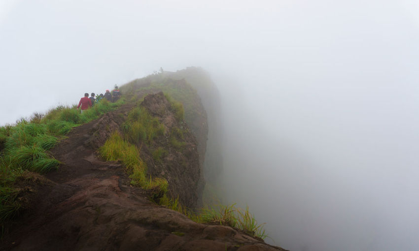 People Hiking On Mount Batur During Foggy Weather