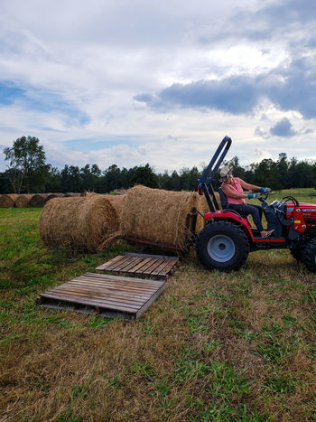 My Wife Running massey ferguson Wood Pallets Red Tractor Woman Farm Girl Life Pallet Forks Compact Tractor Rural Scene Agriculture Agricultural Machinery Field Tractor Farm Preparation  Agricultural Equipment Harvesting Organic Farm Farmer Farm Worker Hay Bale