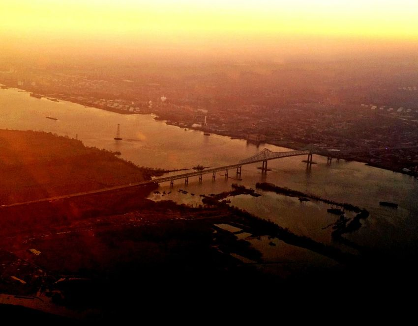 Showcase: December Orange Sky Orange Color Bridges Riverscape Architecture_collection City Planning Philadelphia Sunset Water Reflections From An Airplane Window View From Above