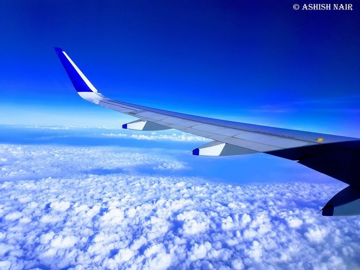 Aerial View Aerospace Industry Air Vehicle Aircraft Wing Airplane Airplane Wing Blue Cloud - Sky Commercial Airplane Day Flying Journey Mid-air Mode Of Transport Nature No People Outdoors Sky Transportation Travel