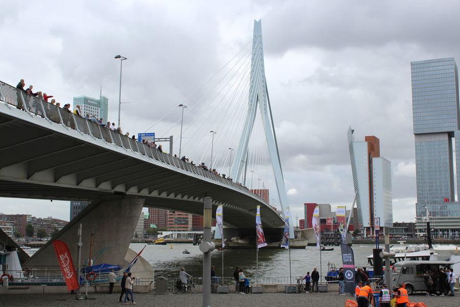 Architecture Bridge Bridge - Man Made Structure Built Structure City Cloudy Erasmusbrug Rotterdam Rotterdam Sky Travel Destinations Wereldhavendagen