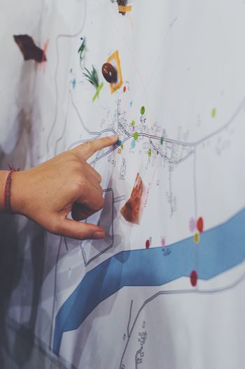 Creativity Map Wall Drawing Workshop Design Human Hand Real People Close-up Training Work Paper People Business Teamwork Pointing Presentation Mapping Cartography Creative Working