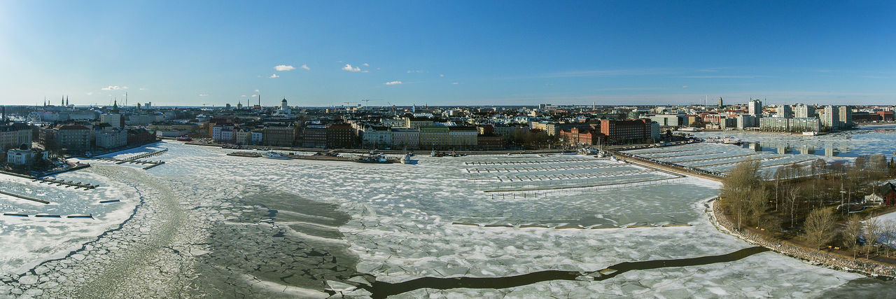 Aerial Aerial Photography Aerial View Buildings City Cityscape Cityscape Clear Sky Drone  Dronephotography Finland From Above  Helsinki High Angle View Ice Rink Ilmakuva Panorama Panoramic Sea Sky Snow Suomi Urban Skyline Water Winter