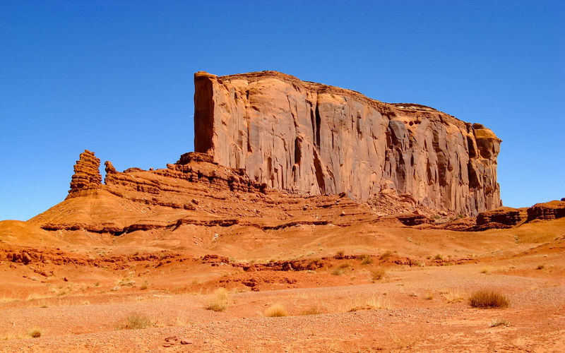 Rock formations against clear sky monument valley