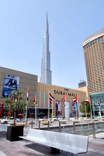 Built Structure Architecture Building Exterior Outdoors Skyscraper Day Travel Destinations Low Angle View City Modern Text No People Sky DubaiMall Burj Khalifa Dubai UAE Mall