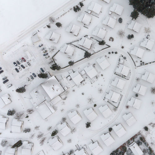 High angle view of building in winter