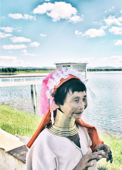 My Eyes On MYanmar Woman Cloud - Sky Ethnic Group Padaung Folclore Costumes Gold Collars Hairstyle Nature One Person Outdoors Real People Sky Water