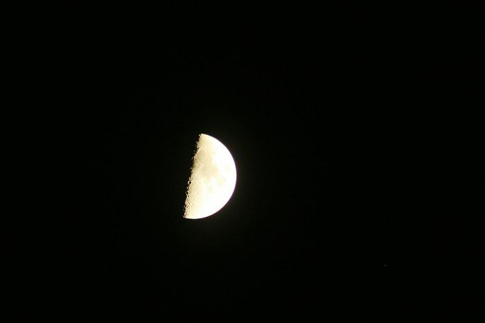 Moon Night Astronomy Scenics Nature Beauty In Nature No People Low Angle View Outdoors Space Half Moon Crescent Sky Man In The Moon