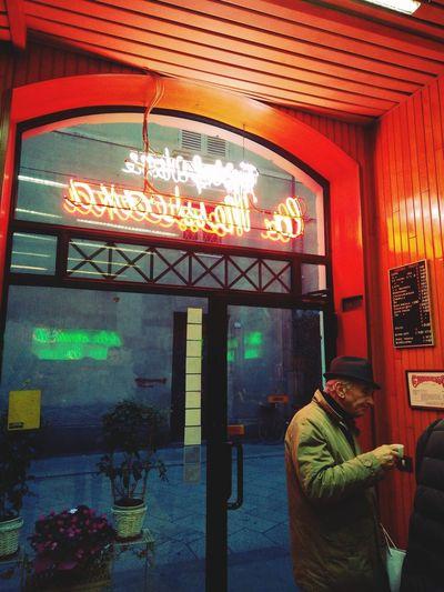 Coffee Break Colors Neon Lights Winter Lights Italy Door Built Structure Architecture Night No People