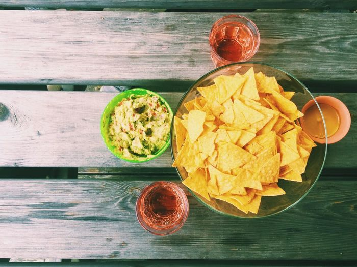 High Angle View Of Guacamole And Nachos On Table